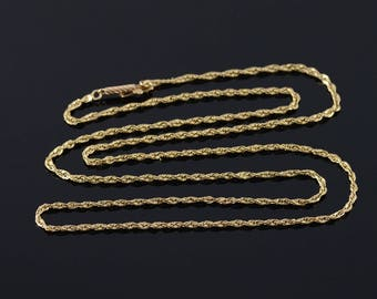 """14k 1.8mm Rope Link Chain Necklace Gold 25"""""""