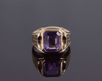 10k Amethyst Emerald Cut Bezel Set Grooved Mens' Ring Gold
