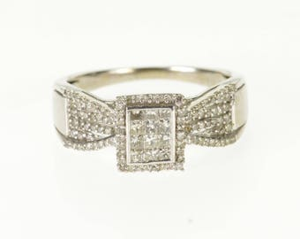 10k 0.50 Ctw Diamond Pave Encrusted Inset Engagement Ring Gold