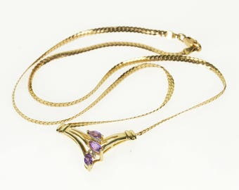 10k Marquise Amethyst Diamond Curb Pressed Chain Necklace Gold 16""