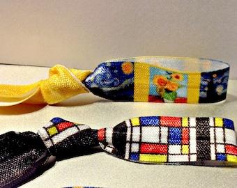 Famous Artist Hair Tie Set of 3,Van Gogh and Mondrian,Designer Hair Ties,Elastic Bracelets,Fine Art Masterpieces