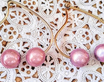 Large GLOWING Pink Ball Vintage Earrings with Specks-Gold-Super Cool!-Unusual- Retro-All Orders Only .99c Shipping!