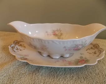 Haviland limoge gravy bowl and plate
