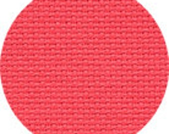 """Coral Permin Aida Fabric 14ct Embroidery Fabric Sold per 4""""/ 10 cm Wichelt Pink Fabric 100% Cotton Coral Pink Stitch Fabric Hot Pink DIY"""