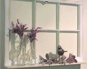 Old Window Frame, Window with Shelf, Vintage Window, Farmhouse Decor, Antique Window