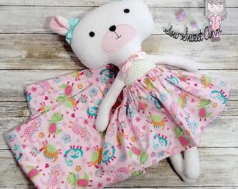 Fabric Teddy Bear, Dress up Doll, Soft Pink Bear, Stuffed Animal, Handmade Cloth Doll