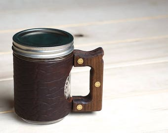 The Woods Mug with Ol'Red Folklore Bison Leather & Walnut Wood Handle
