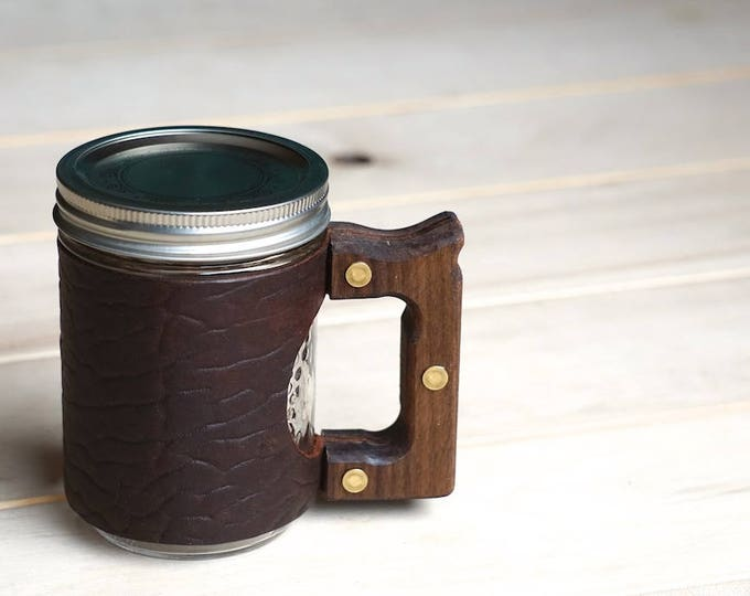 The Woods Mug with Ol'Red Bison Leather & Walnut Wood Handle