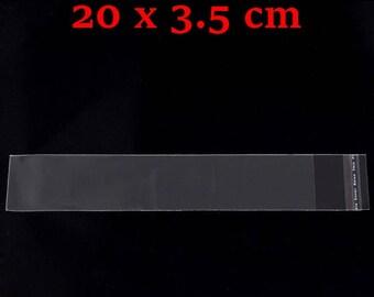 200 sachets transparent autocollant 20 x 3.5 cm