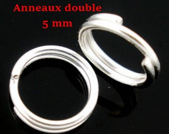 500 double jump Rings Silver 5 mm