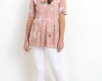 Hello Miz Floral With Front Pleats Maternity Top