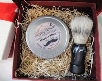 Shave Soap | Barber Shop Soap and Brush | Large Shave Puck | With Travel Tin in a Gift Box Set | Man Gifts | Shave Soap For Men