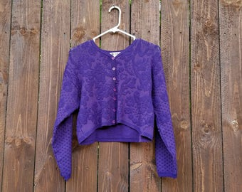 R E S E R V E D | vtg purple ONE STEP UP brand grape soda women's button-up crop top button-up button down cardigan sweater