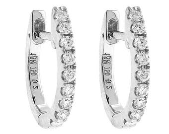 Small Diamond Hoop Earrings - 18k White Gold Jewelry [#12250]