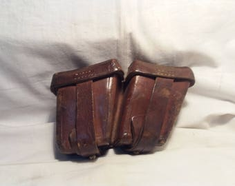 Vintage Brown Leather Ammunition Pouch for M-95 STEYR-MANNLICHER Carbine - Right