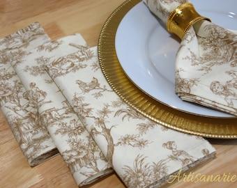 Romantic Toile Napkins | Set of 4 Dinner Napkins | Reusable Cloth Napkins | French Countryside Toile | Elegant Napkin | French Kitchen Decor
