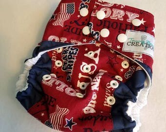 Patriotic OS Diaper fitted, AI2, Pocket