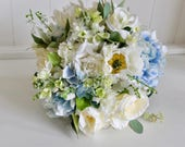 Pale blue and ivory silk ...