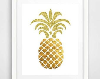 Gold pineapple decor, cool posters, pineapple prints, kitchen wall decor, pineapple art, room decor DIY, pineapple poster, dorm room decor