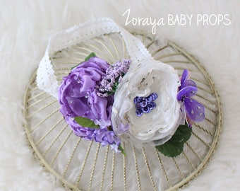 Sitters Headband,Lilac and Cream,Flowers Headband, Fascinator, Cream Headband, Handmade Flowers, 3-6mo, 6-9mo ,9-12mo,Flower Crown,Summer