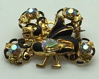 Vintage Triad Bird Brooch Gold Tone  AB Rhinestones Black Enamel  Figural Stocking Stuffer Birthday Anniversary