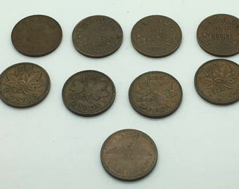 Canada Small  Cents 1922 1929 1936 x 2 1945  1946 1949 1952 1967 King George V VI Queen Elizabeth  Collection Young Collector Coin Jewellery
