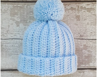 Pom Pom Hat, Baby Crochet Hat. Can also be made to order in other sizes.