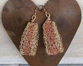 Gold and Rose Gold Wire Crochet Teardrop Hoop Earrings