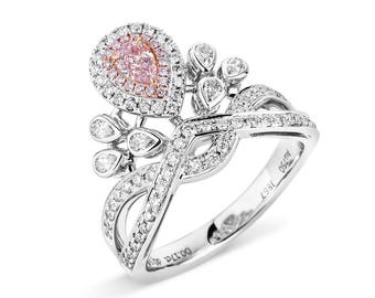 20% SALE Pink Diamond Ring, Diamond Engagement Ring, Diamond Crown Ring, pear shape Engagement Ring, 18K gold and diamonds ring, Double Halo
