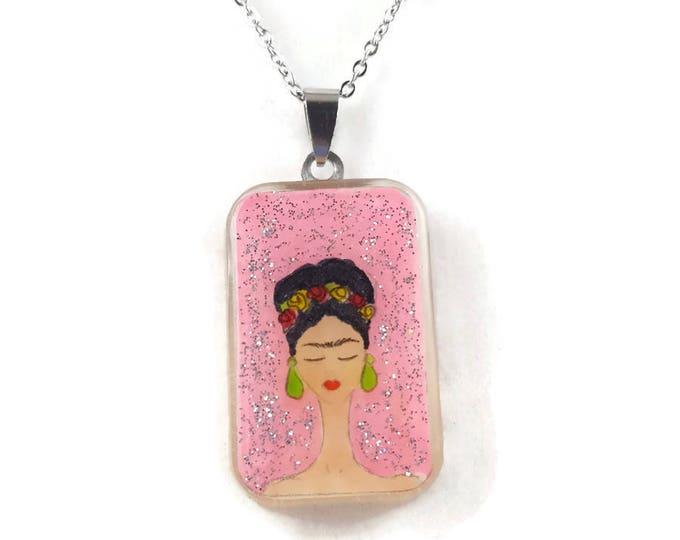 Pink Glitter Frida Kahlo
