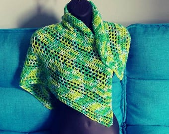 Shawl, wrap, spring, summer, apparel,green, yellow, key lime pie