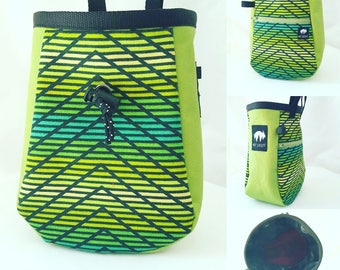Eclipse Chalk Bag, Line of Forest with Lime side panel by Mt Gruff