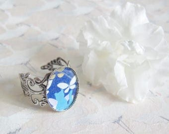 Ring * blue cat and butterfly *, silver jewelry and Japanese paper and resin cabochon