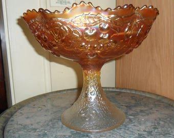 Fenton Carnival Glass Marigold ''MIKADO'' Compote - Vintage Art Glass - Iridized Glass(163)