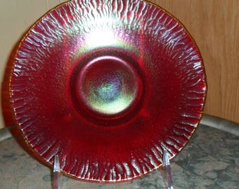 Antique Imperial Carnival Glass Red ''STRETCH'' 7 inch Plate - Vintage Art Glass - Iridized Glass(484)