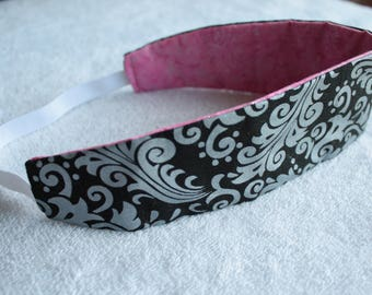 Silver scroll/ Pink sparkle reversible headband