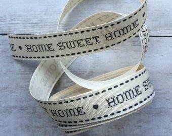 Home Sweet Home Ribbon Charcoal Grey