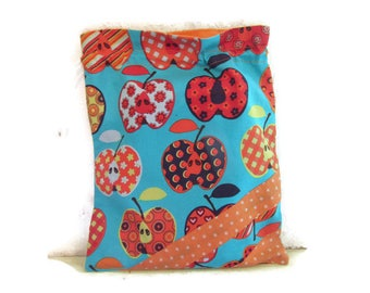 """Cover for canteen towel, bag for lunch, lingerie or cuddly blue and orange """"Apples"""""""