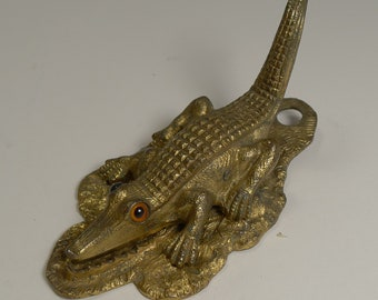 Rare Antique English Figural Letter / Paper Clip - 1888 - Alligator