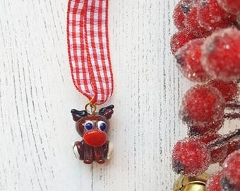 Reindeer Decoration - SALE - Lampwork Reindeer - Lampwork Glass - Glass Reindeer - Rudolf - Christmas Ornament - Tree Decoration