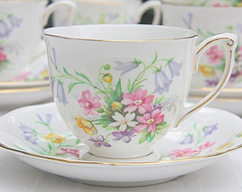 Vintage Queen Anne 'Old Country Spray' Cup and Saucer, Flower Decor, England