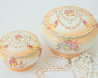 Set of Two Rare Antique Devon Ware Semi-porcelain Small Bowls with Lid, Trinket Boxes, Flower Pattern, Handpainted, Edwardian Style,England