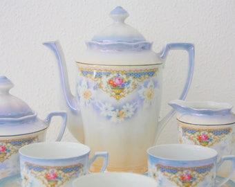 Vintage 3 Person Demitasse Coffee Set, Gradient Light Blue Lustreware with Flower Decor, France