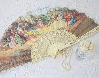 Georgeous Vintage Victorian Style Fan, Garden Scene, Lace Trim
