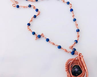 Handmade Copper Necklace With Lapis Beads