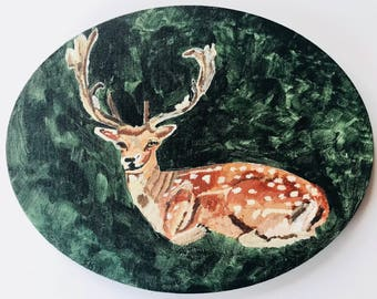 """Deer In The Jungle Painted In Acrylic """"11X14"""" Oval Gallery Wrapped Canvas 