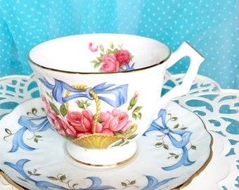 Vintage Aynsley Tea Cup, June Rose Pattern, Tea Cup, Aynsley Bone China Teacup Set, Tea Cup, June Birthday Gift, Pink Rose, June Flower