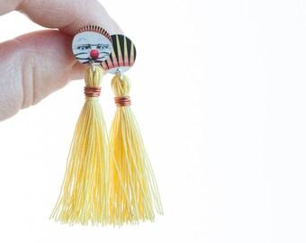 Yellow Tassel - Fun face mismatched studs - Luna Park mismatch earring set -  iconic Melbourne mismatched jewelry - Australiana
