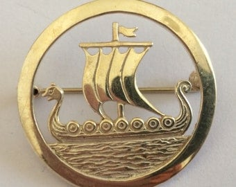 Scottish Orkney Malcolm Gray for Ortak Viking Longship Silver Brooch - 32mm diameter - with Edinburgh Hallmarks for 1981.
