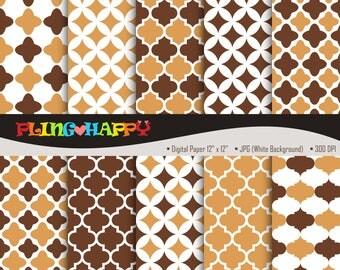 70% OFF Quatrefoil Brown Set Digital Papers, Quatrefoil Pattern Graphics, Personal & Small Commercial Use, Instant Download